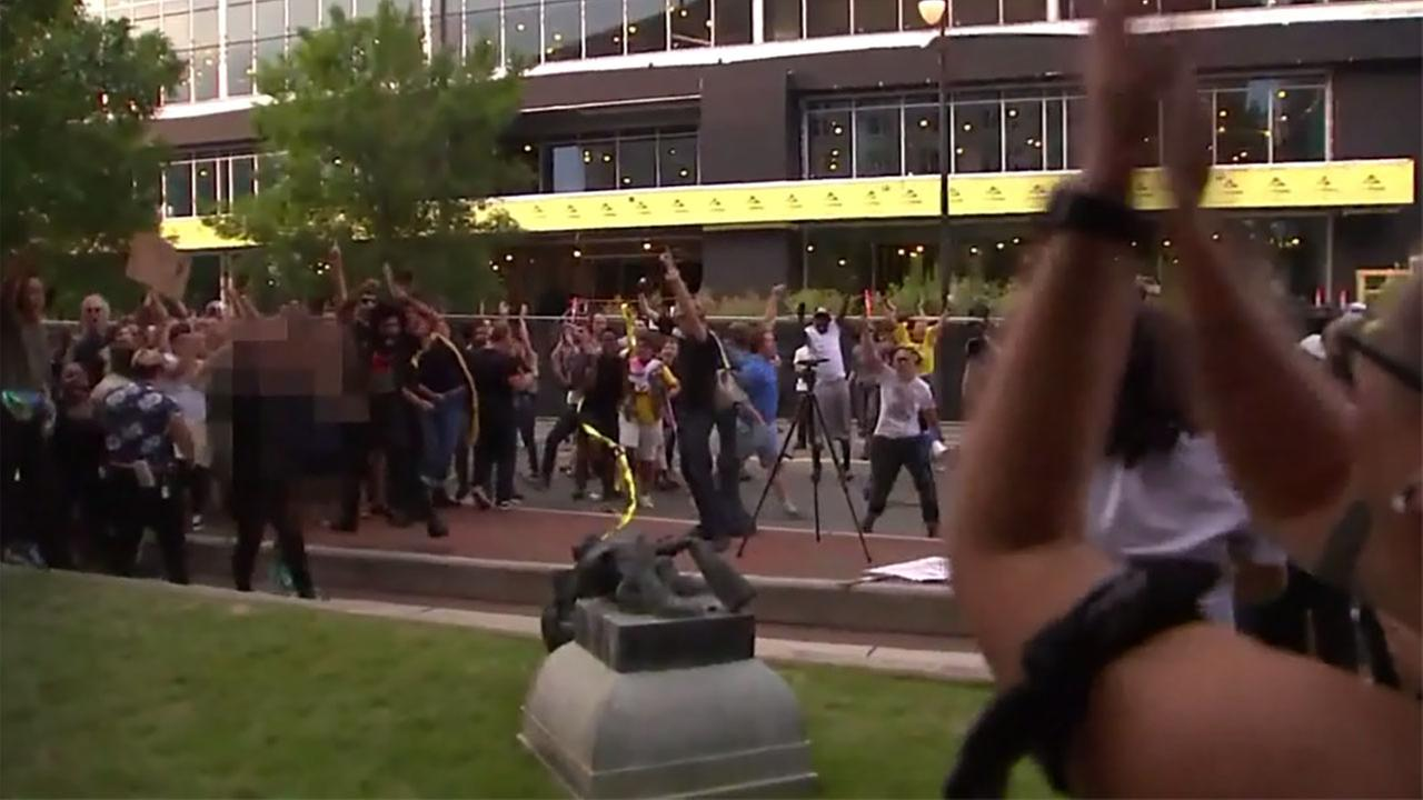 Protesters pulled down a Confederate statue in Durham last year.