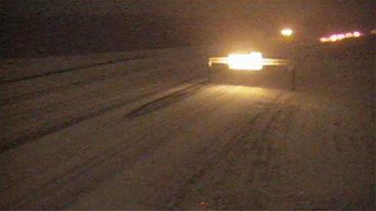 A look from a DOT cam shows the poor conditions Wednesday night on I-95 in Robeson County.
