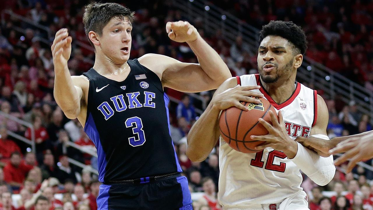 Dukes Grayson Allen (3) guards North Carolina States Allerik Freeman (12) during the first half of an NCAA college basketball game in Raleigh, N.C., Saturday, Jan. 6, 2018.