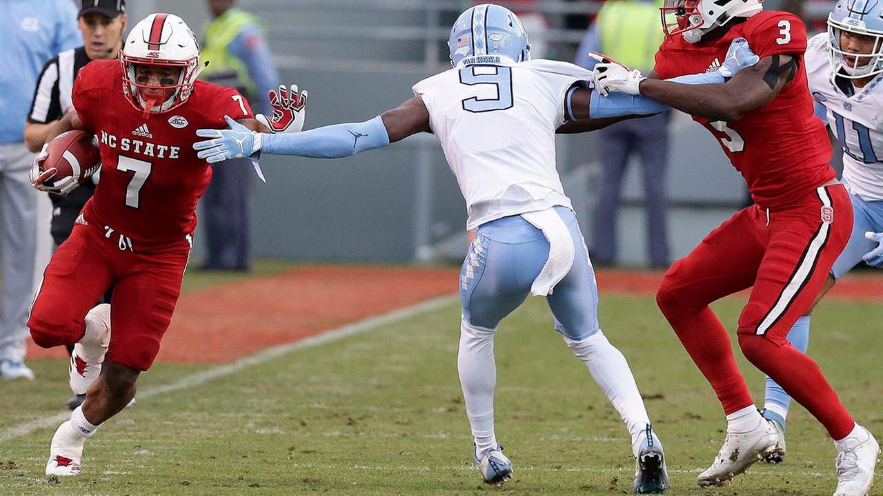 NC States Nyheim Hines shredded the Tar Heels defense for 196 yards rushing and two touchdowns on Nov. 25, 2017.