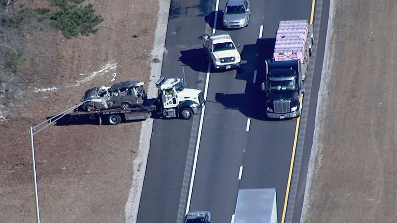 Two people were seriously injured in the single-vehicle crash Wednesday along I-95.