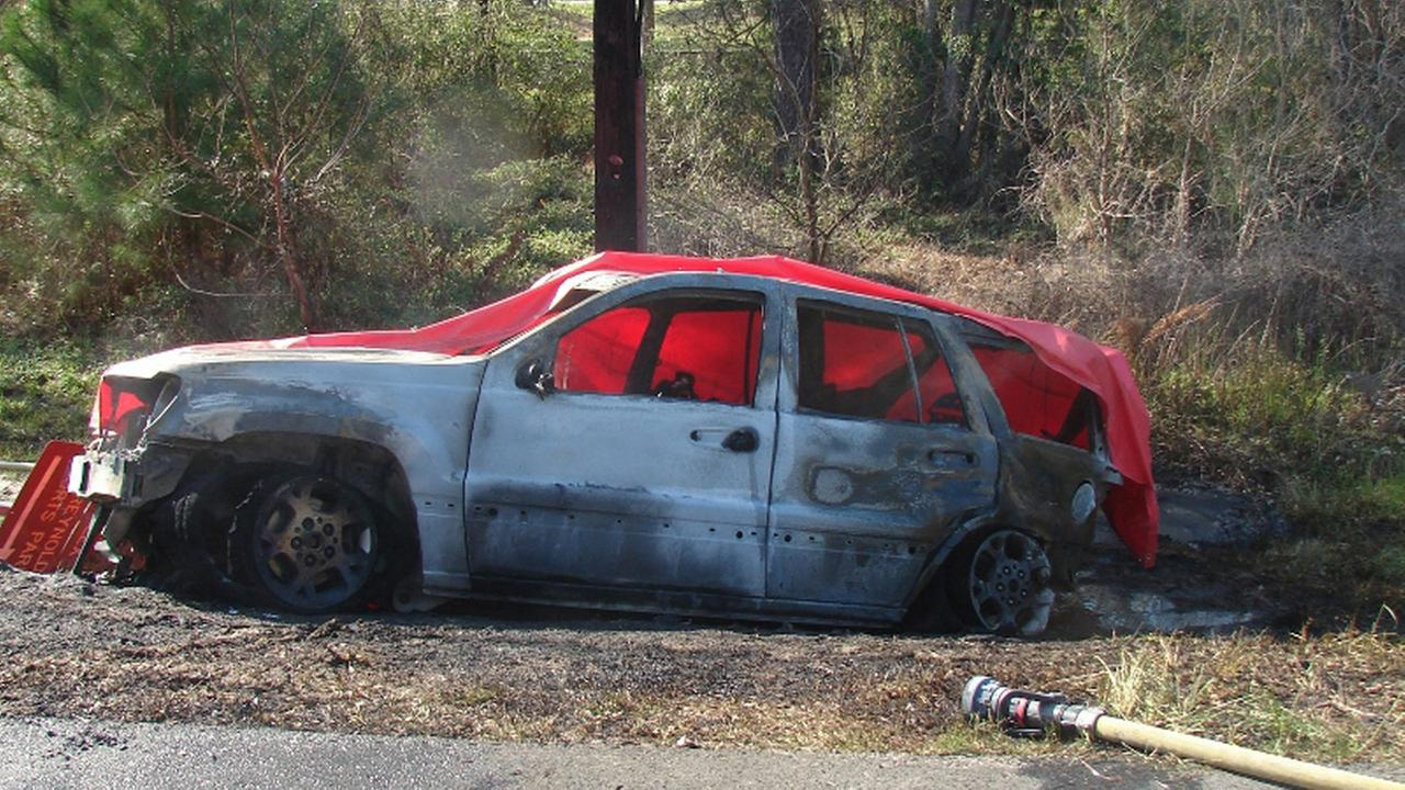 This March 6, 2012 photo shows the scene of a crash in Bainbridge, Ga., where a 4-year-old boy named Remi Walden was burned and died when a Jeep Grand Cherokee was struck