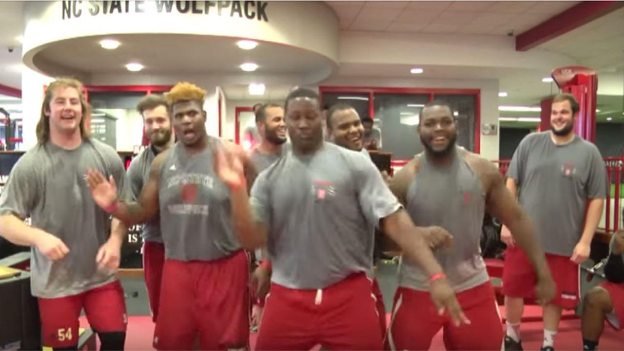 Members of the NC State football team shake it off in a video posted to  YouTube.