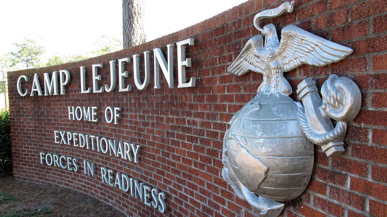 FILE - This photo shows the globe and anchor stand at the entrance to Camp Lejeune, N.C.