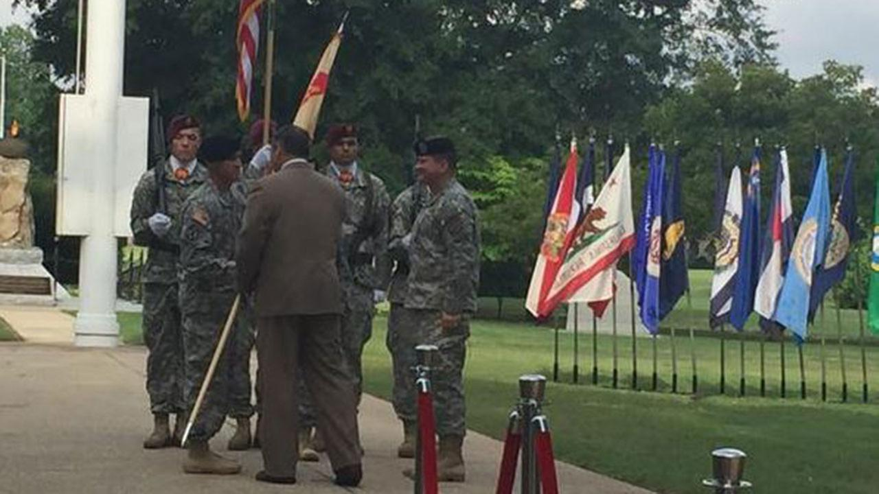 Change of Command at Fort Bragg as Col. Brett Funck takes over Garrison Command from Col.Jeffrey Sanborn Friday morning.