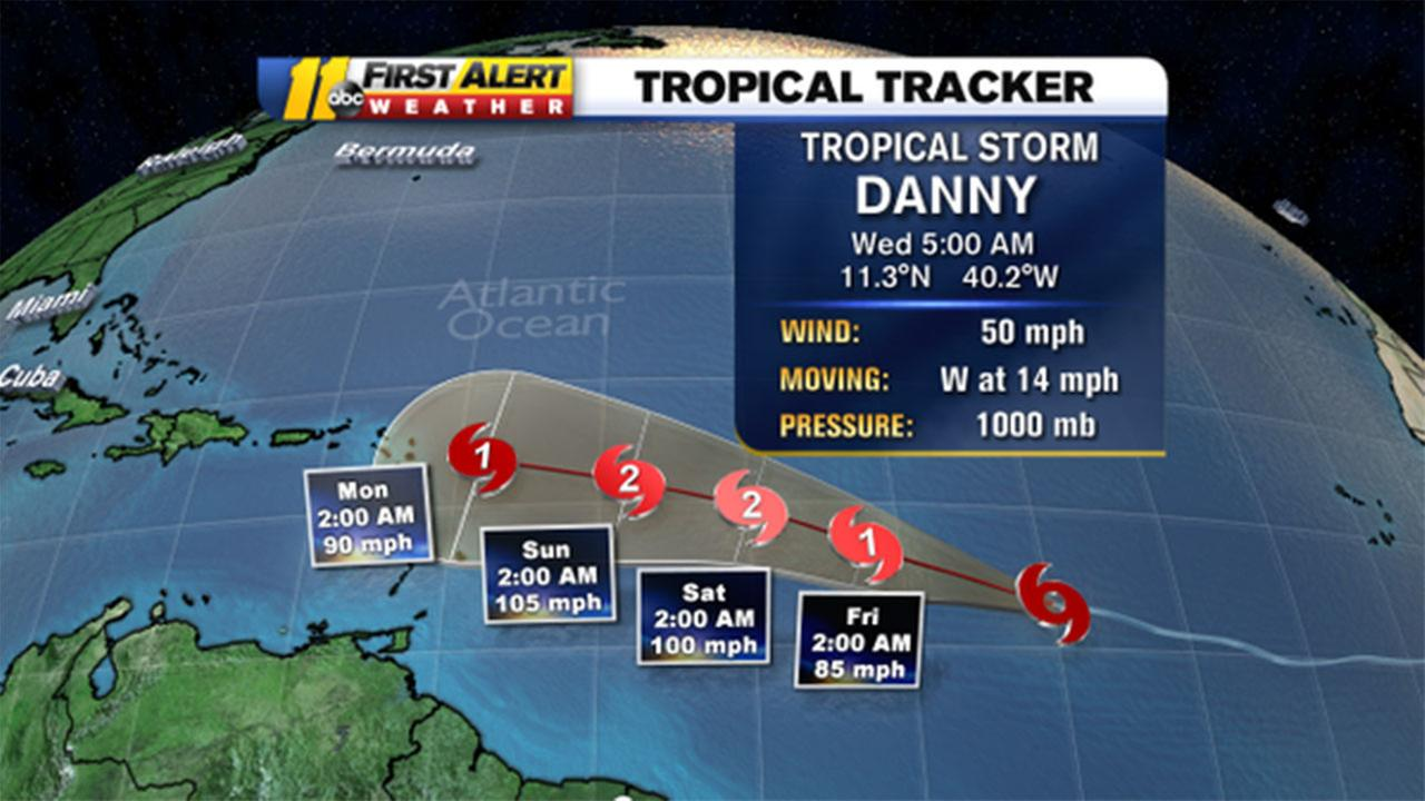 Tropical Storm Danny forecast graphic
