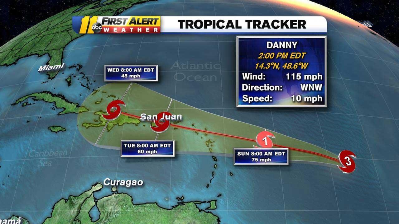 Hurricane Danny strengthens into a Category 3 storm