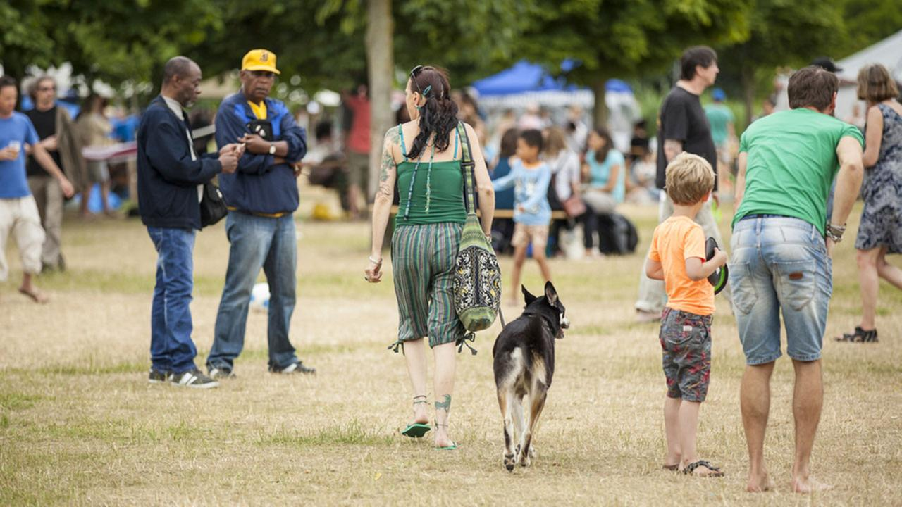 Woman walking a dog at an outdoor event