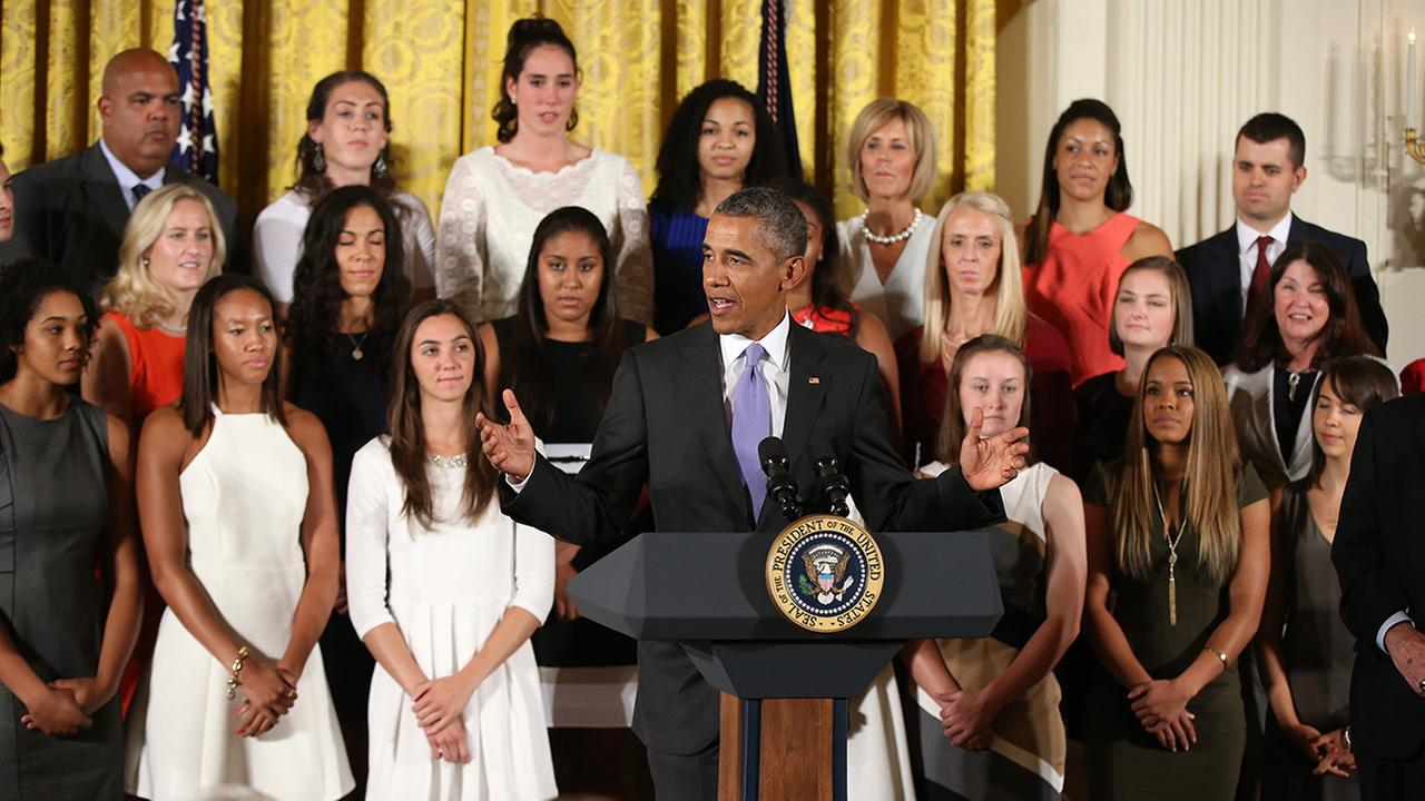 President Barack Obama speaks during a ceremony to honor the 2015 NCAA Womens Basketball Champion University of Connecticut Huskies.