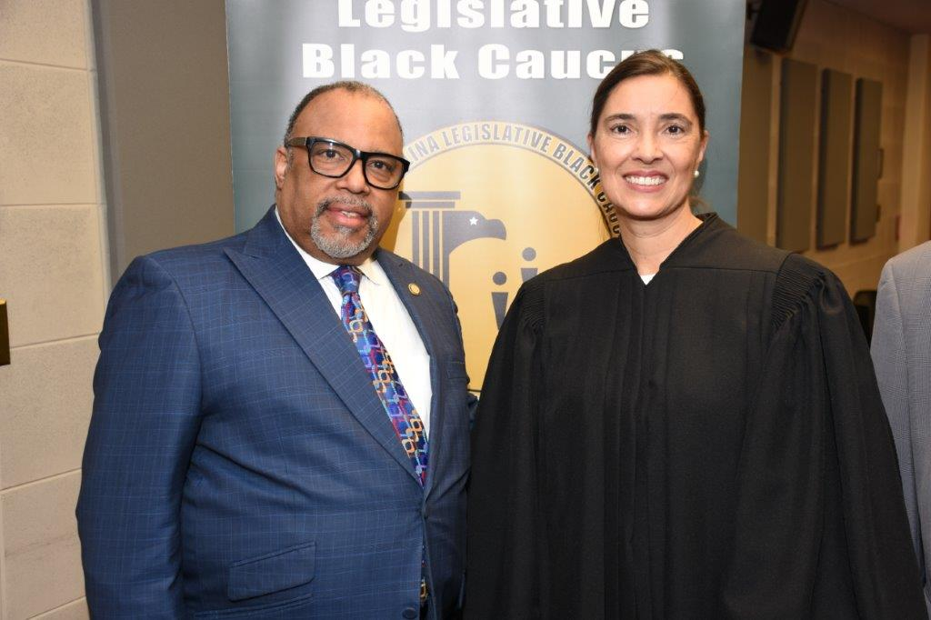 New Chair,  NC Senator Reverend Paul Lowe, poses with NC Supreme Court Judge Anita Earls