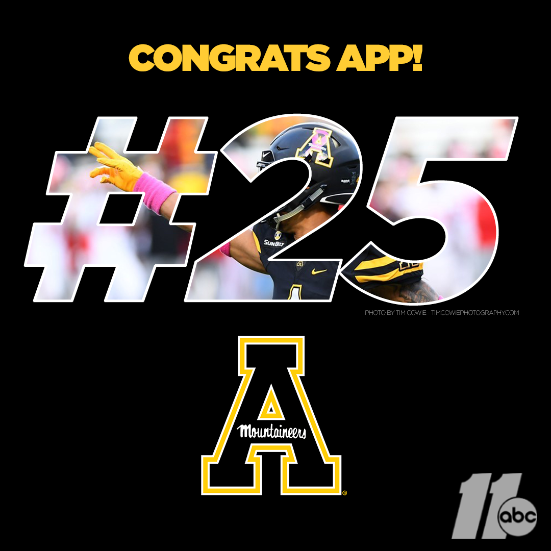 Appalachian States football team is ranked 25 in the AP Top 25.