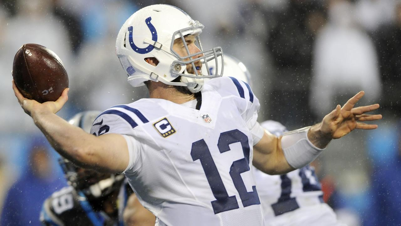 Indianapolis Colts Andrew Luck looks to pass against the Carolina Panthers.