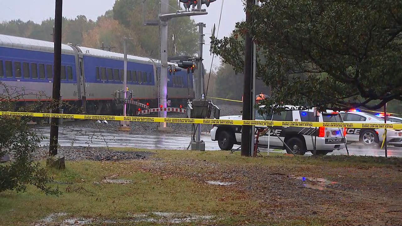 Authorities are investigating after an Amtrak train hit a pedestrian near Dukes East Campus.