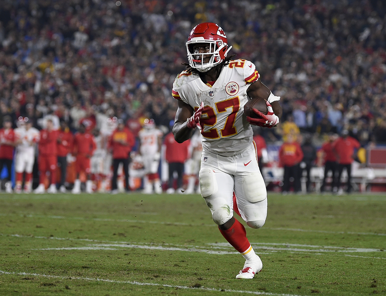 Kareem Hunt led the NFL in rushing as a rookie with 1,327 yards and eight touchdowns in helping Kansas City make the playoffs.