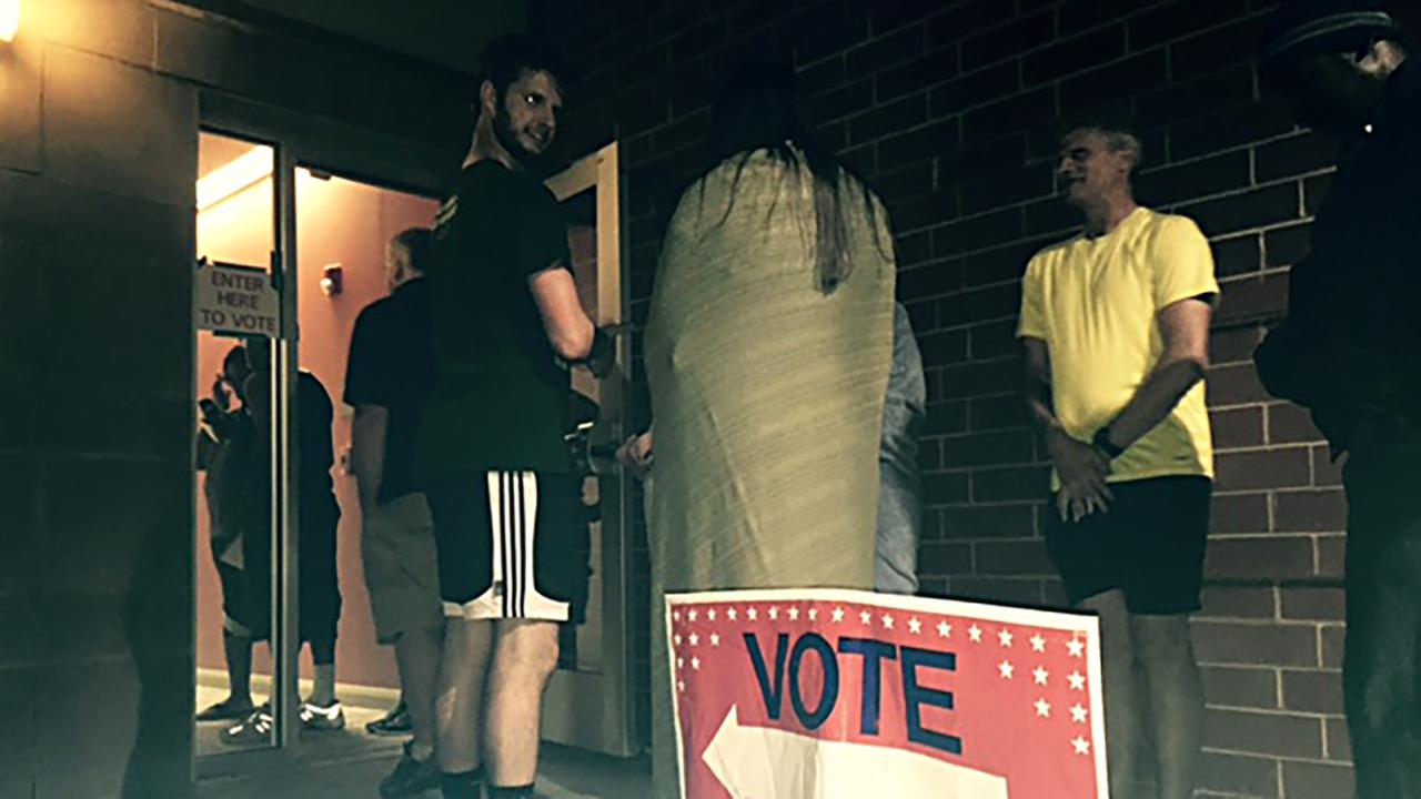 Voters at Durham East Regional Library were still lined up to cast ballots as 11 p.m. neared.