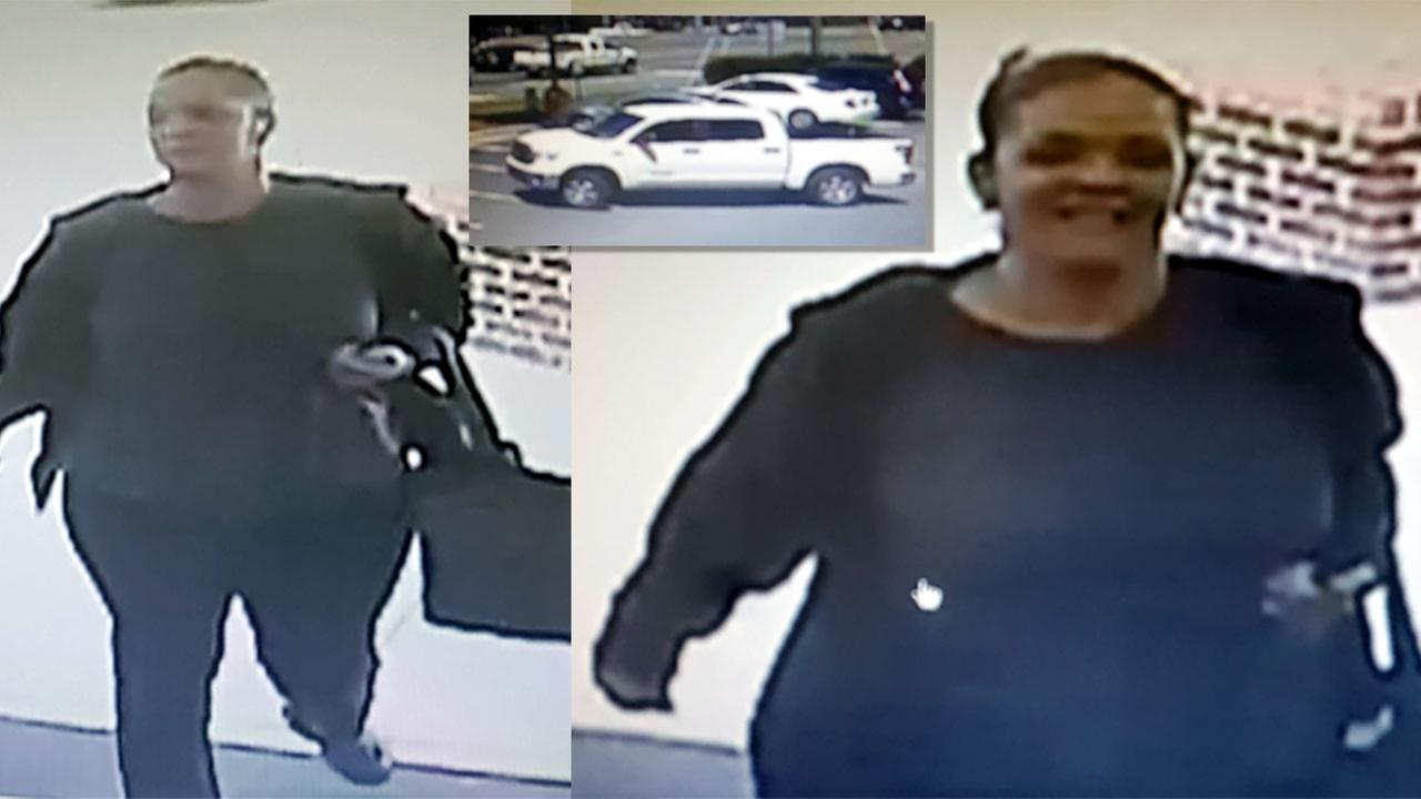 Images of the suspect and her vehicle on April 13.