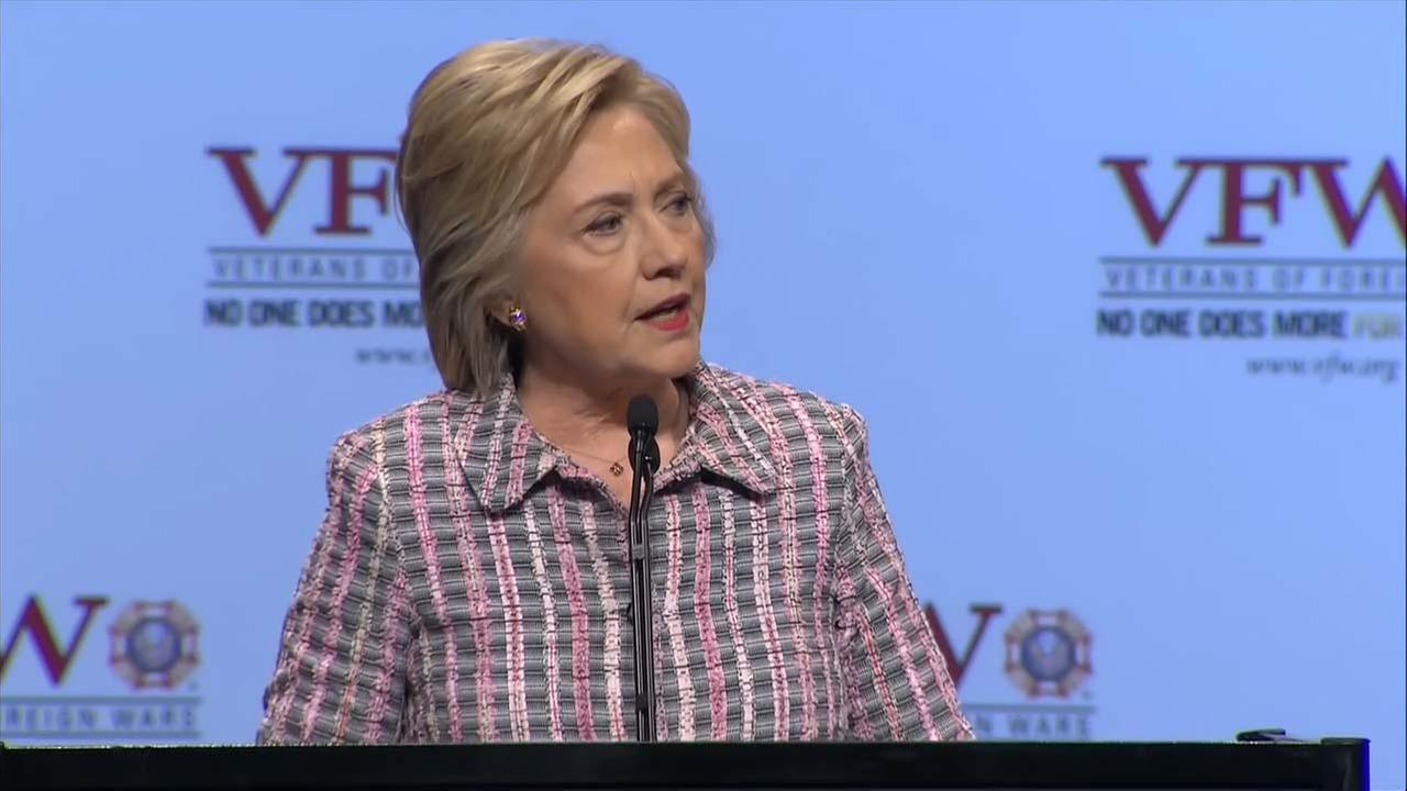 Hillary Clinton speaks to the VFW Convention in Charlotte.