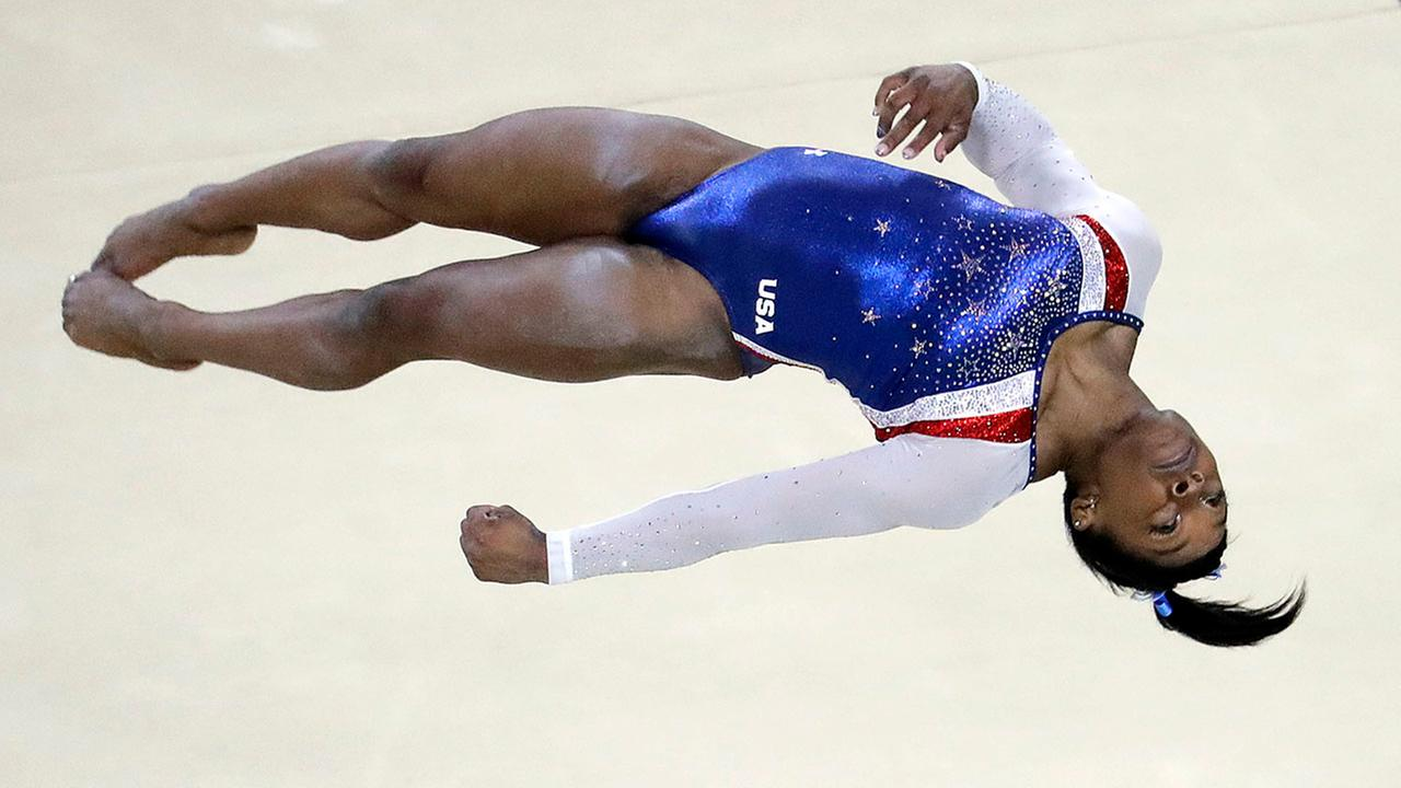 United States Simone Biles performs on the floor during the artistic gymnastics womens individual all-around final at the 2016 Summer Olympics in Rio de Janeiro, Brazil.