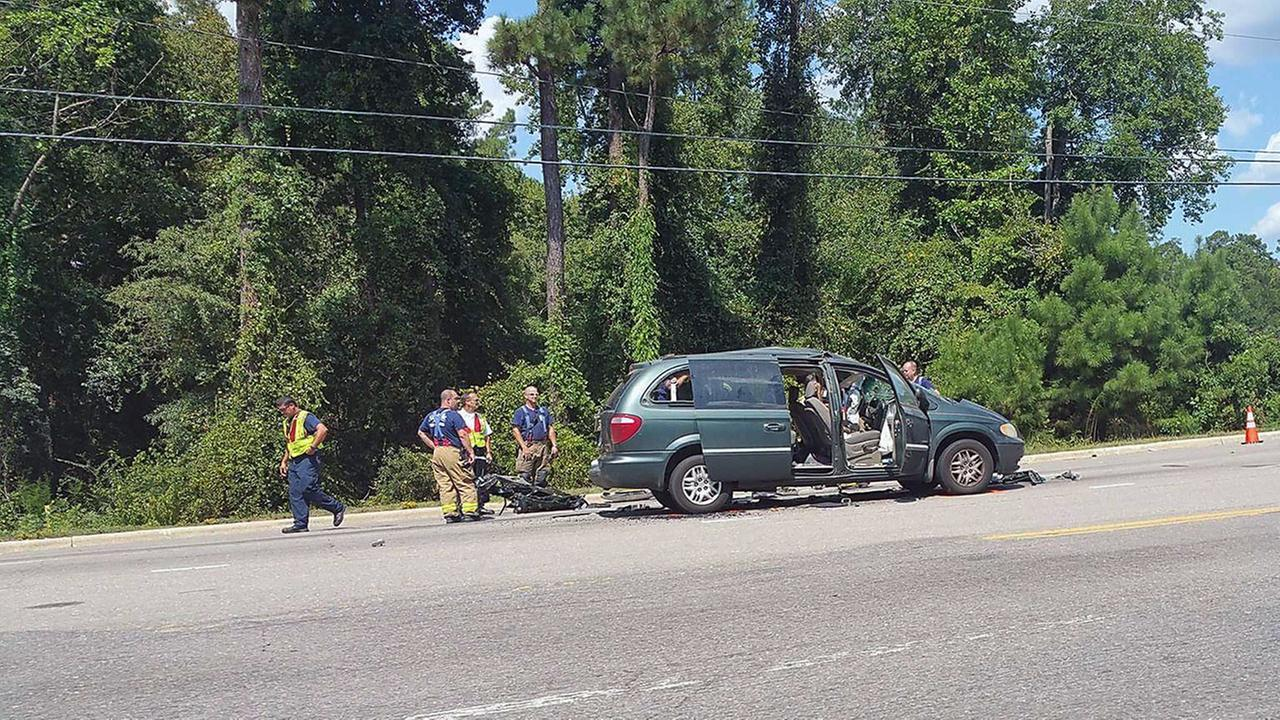 The driver of the minivan was rushed to the hospital Thursday.