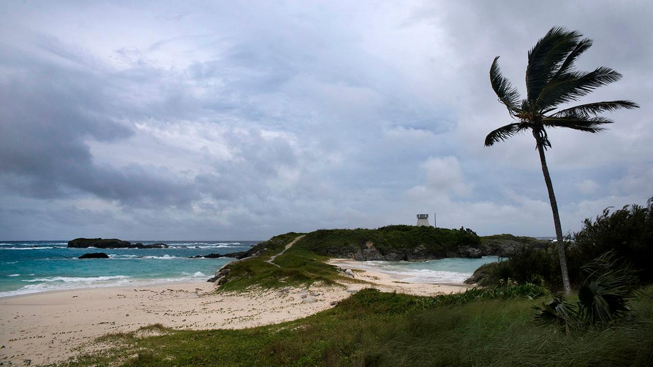 Wind and surf picks up as Hurricane Nicole approaches the Coopers Island Nature Reserve in St. Georges, Bermuda, Wednesday.