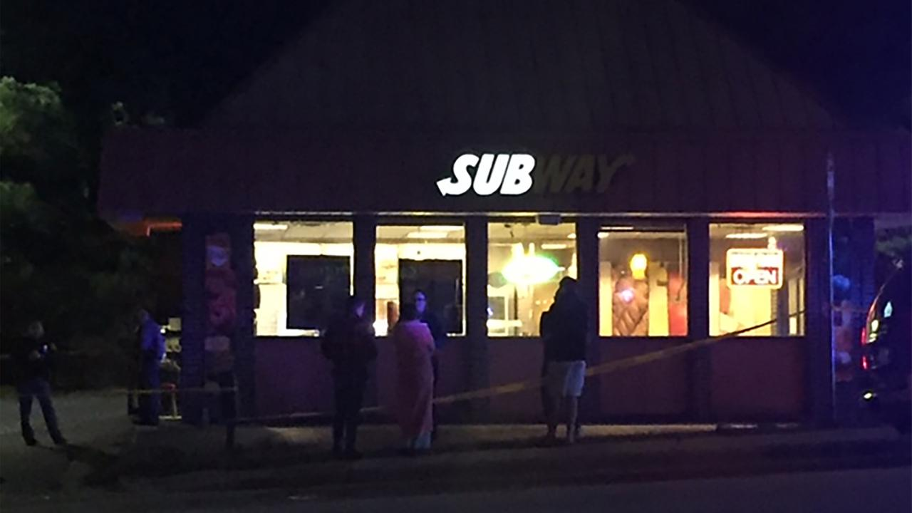 Raleigh police secure the scene at the Subway on Brentwood.
