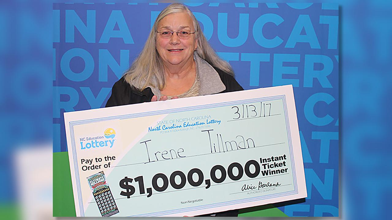 Irene Tillman collects her prize from the North Carolina Education Lottery.