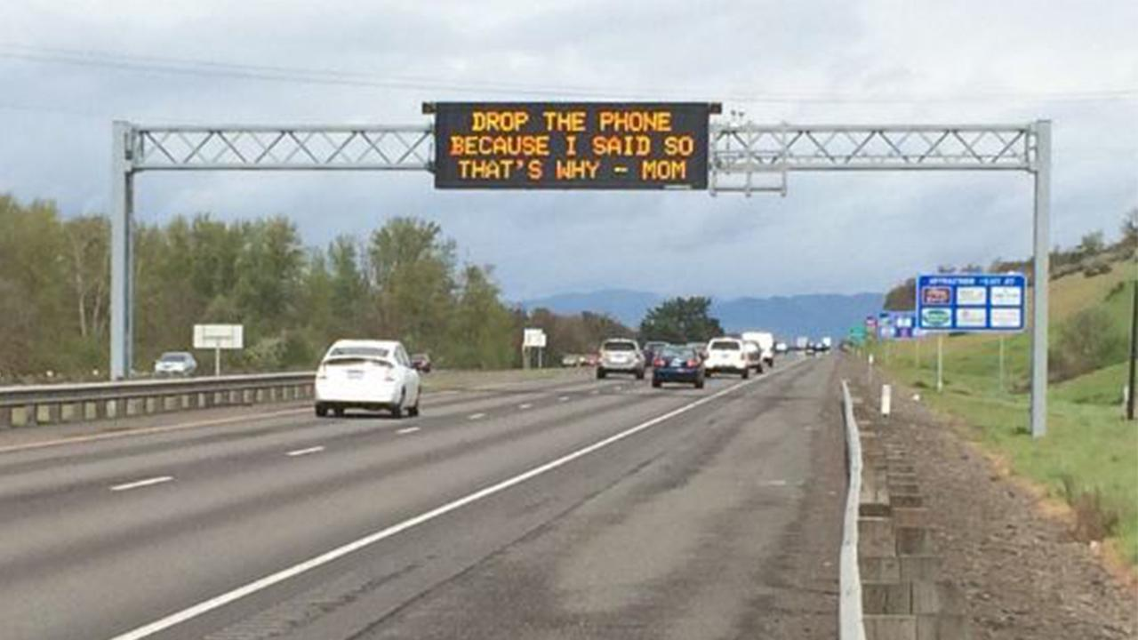 Messages from Mom freeway signs try to curb distracted driving