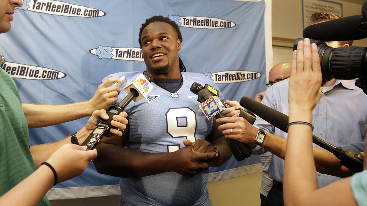North Carolina Defensive tackle Marvin Austin answers questions during North Carolina football media day in Chapel Hill, N.C., Friday, Aug. 7, 2009. (AP Photo/Gerry Broome)