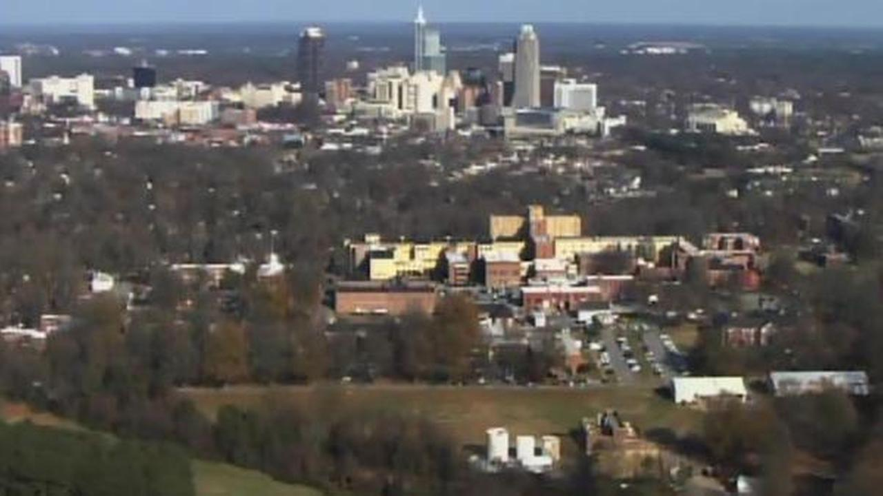 Dorothea Dix campus (foreground) from the air.