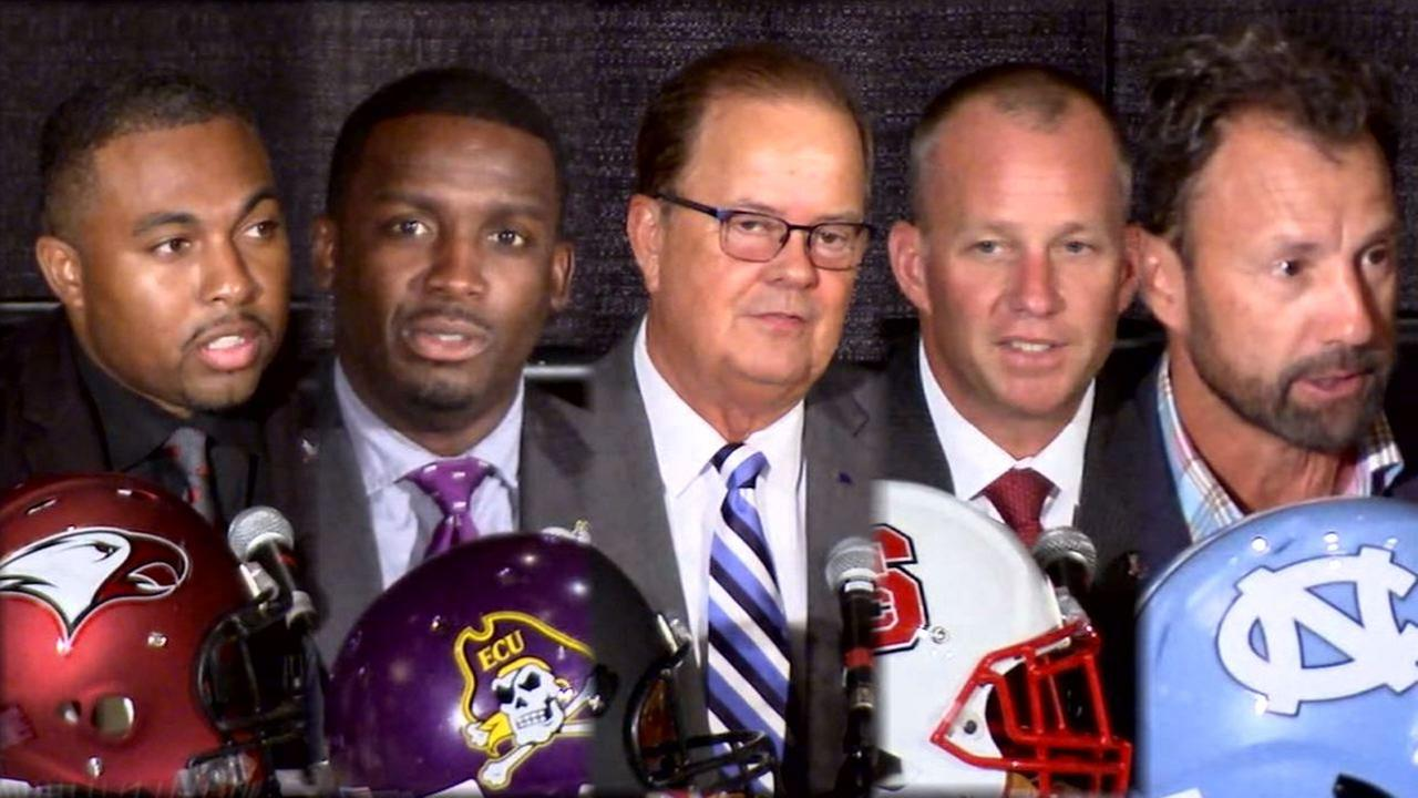 NCCUs Jerry Mack, ECUs Scottie Montgomery, Dukes David Cutcliffe, NC States Dave Doeren, and UNCs Larry Fedora dish on how they met their wives.