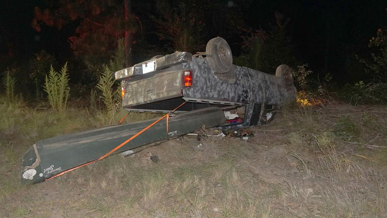 A crash east of Southern Pines (image courtesy Cypress Pointe Fire and Rescue)