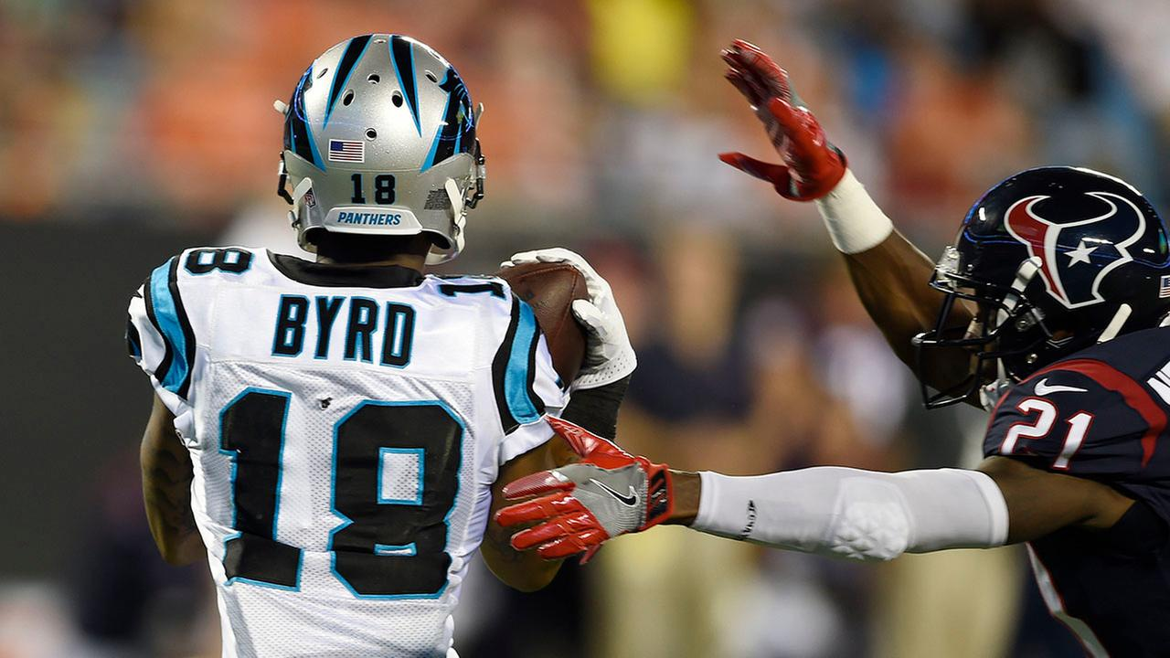 Carolina Panthers wide receiver Damiere Byrd (18) makes a touchdown catch against Houston Texans defensive back Marcus Gilchrist (21) on Wednesday night.