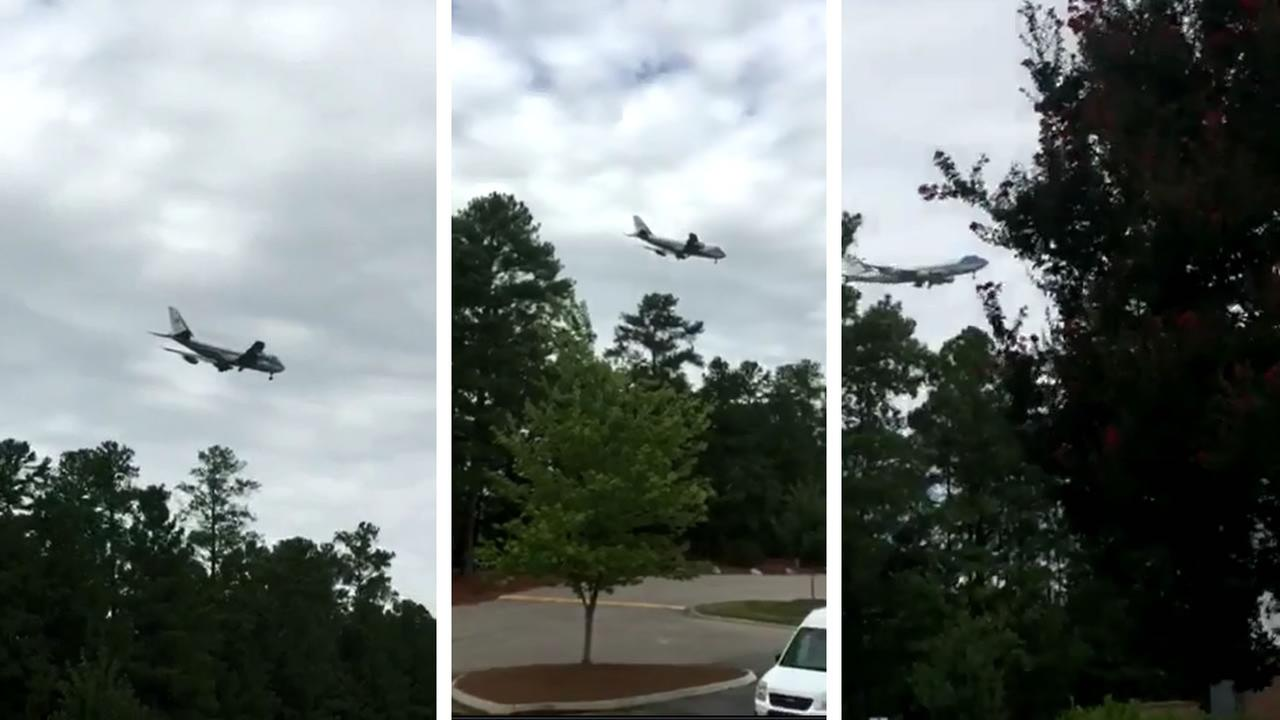 Air Force One seen circling RDU