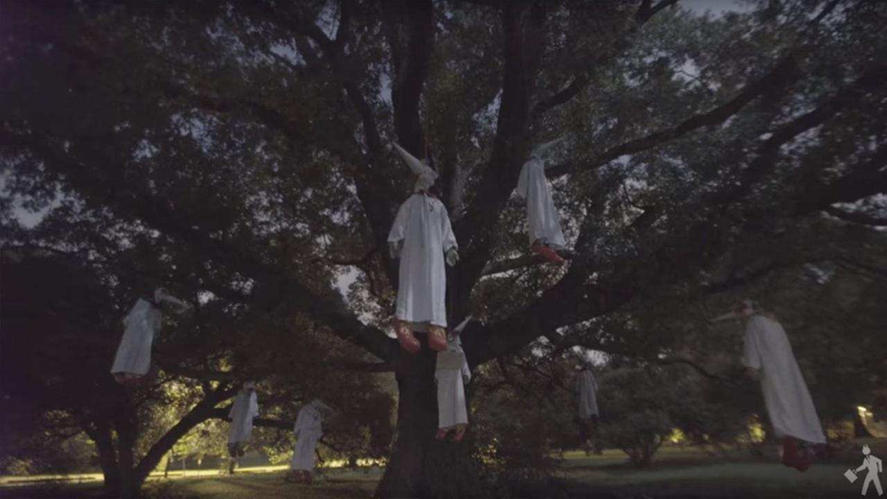 INDECLINE hung these eight Ku Klux Klown effigies in tree to protest white nationalism in Virginia
