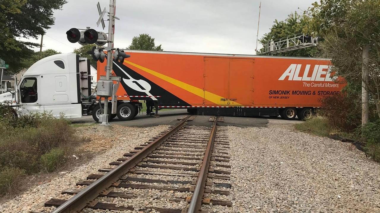 Truck stuck on the tracks (image courtesy Wake Forest Police Department)