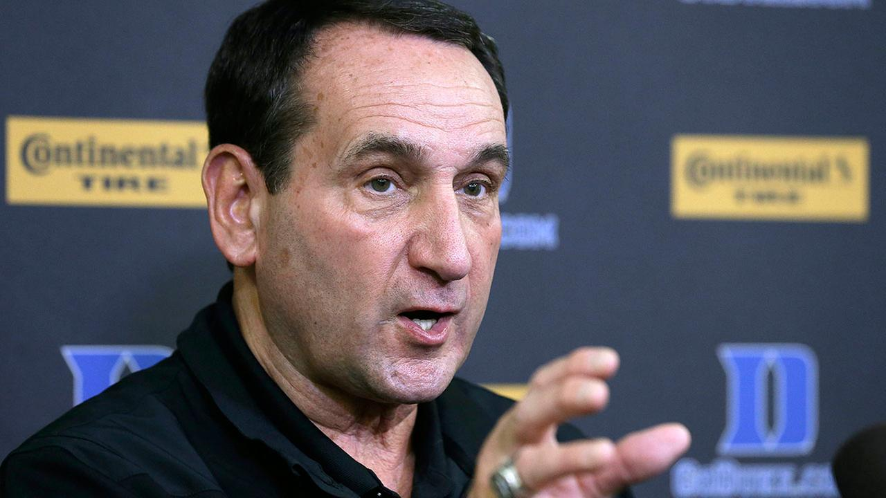 Duke coach Mike Krzyzewski speaks to reporters during the Blue Devils NCAA college basketball media day Tuesday in Durham.  Duke coach Mike Krzyzewski speaks to reporters during the Blue Devils NCAA college basketball media day Tuesday in Durham.