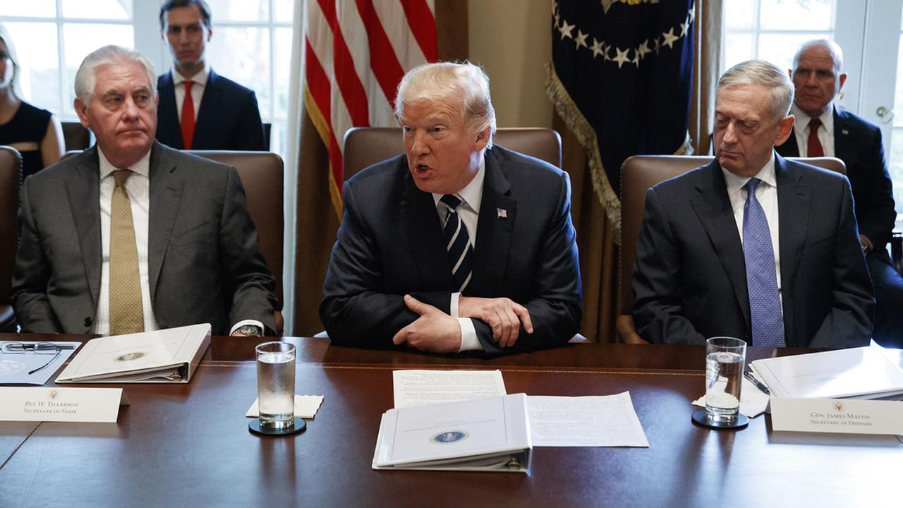 President Donald Trump speaks during a cabinet meeting at the White House, Monday, Oct. 16 (AP Photo/Evan Vucci)