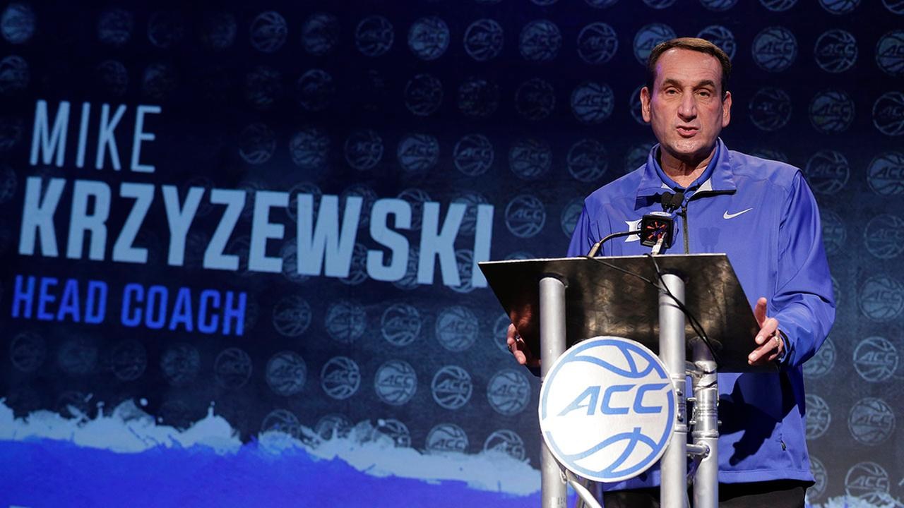 Duke coach Mike Krzyzewski addresses media on Wednesday in Charlotte. The Blue Devils are preseason favorites to repeat as ACC champions.