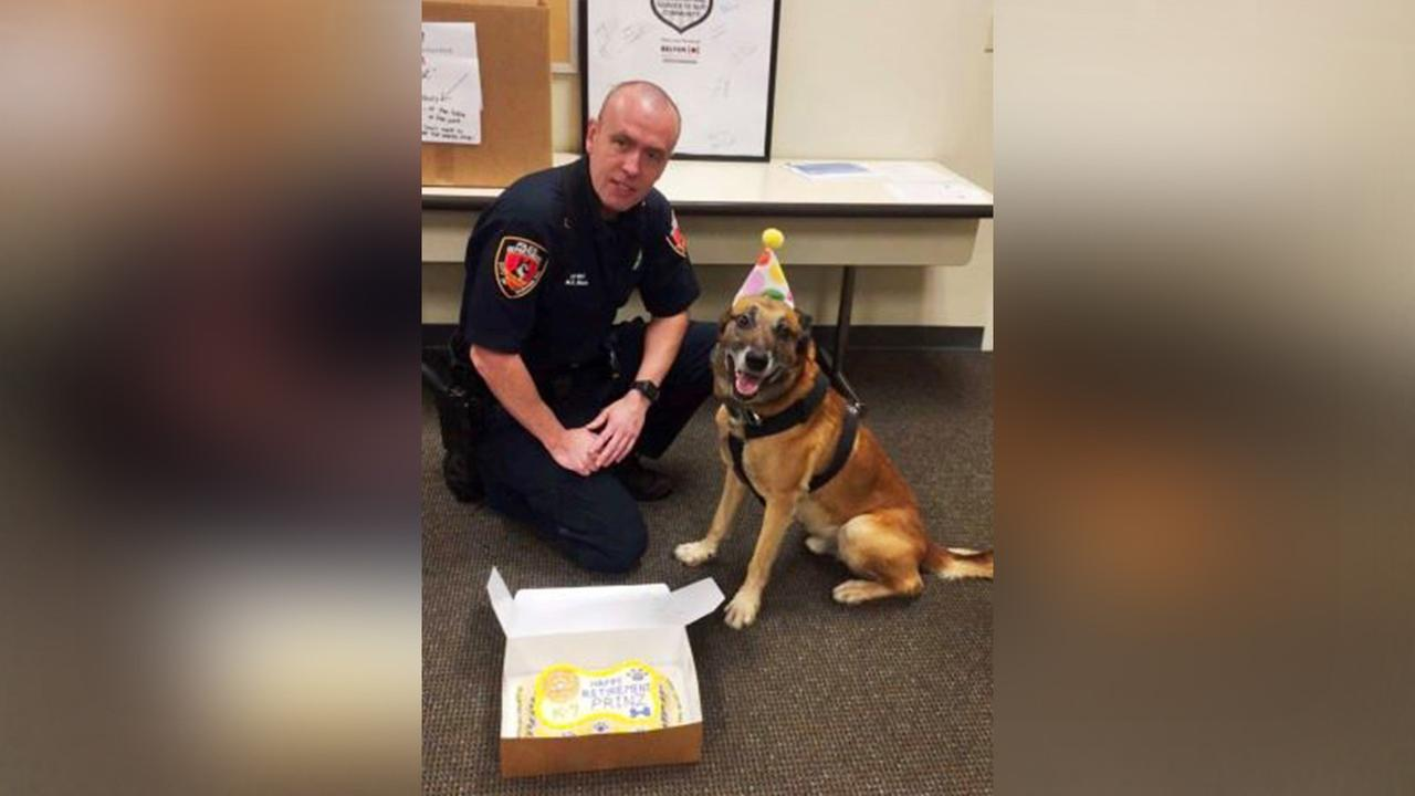 Officer Prinz and his handler officer M.D. Mues