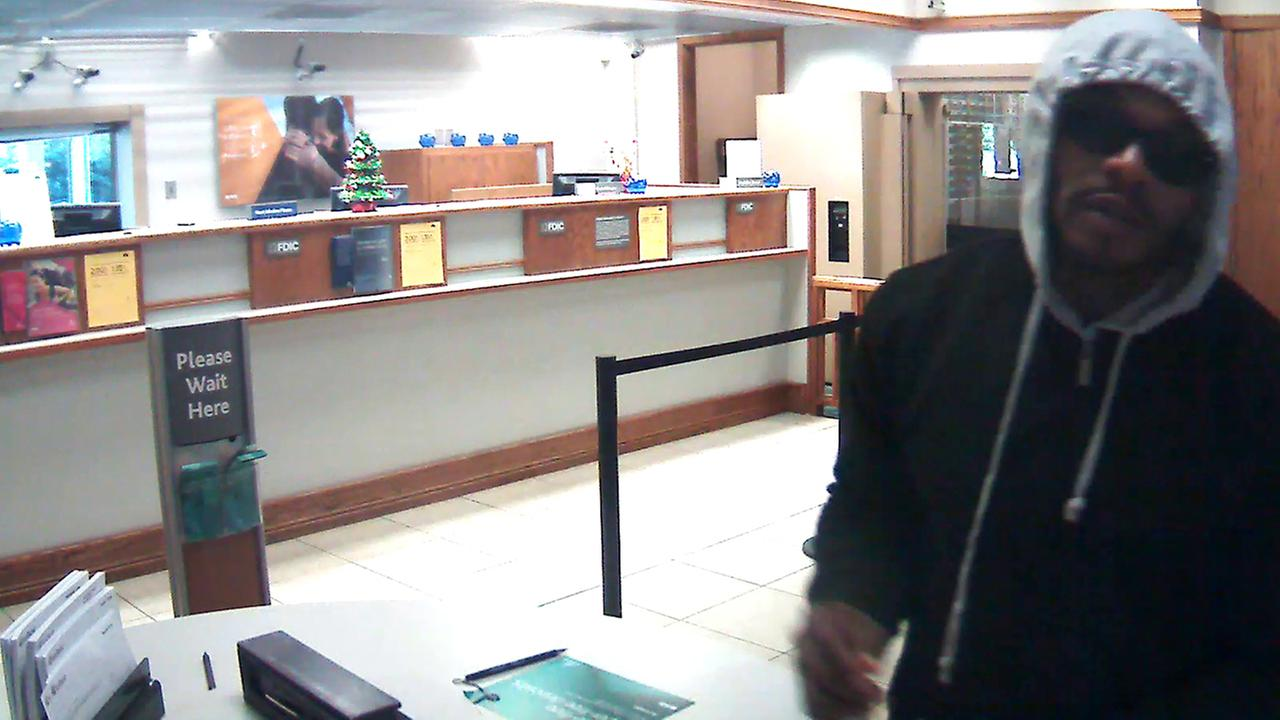 A surveillance image of the bank robbery suspect.