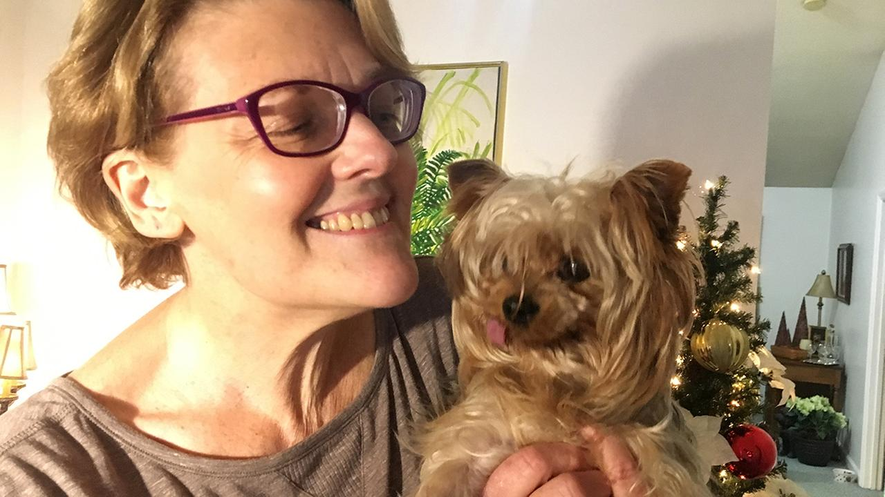 Chaddys home! Hes reunited with his owner, Karen Jenkins.