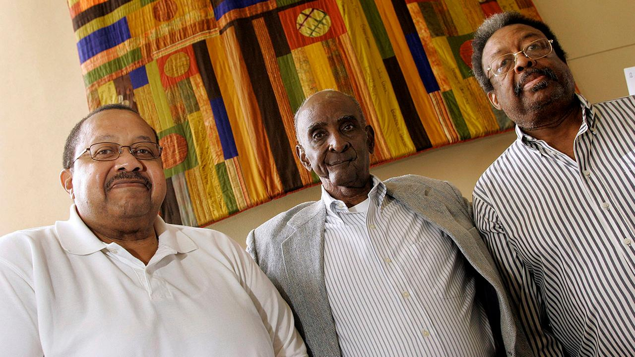 From left, Ralph Frasier, John Lewis Brandon, and LeRoy Frasier, the first black undergraduate students at UNC Chapel Hill, reunite on Sept. 17, 2010.