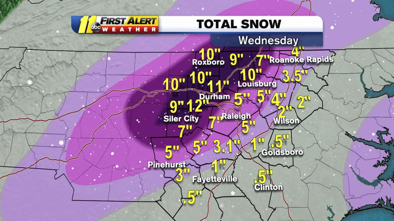 The snowfall totals exceeded expectations.