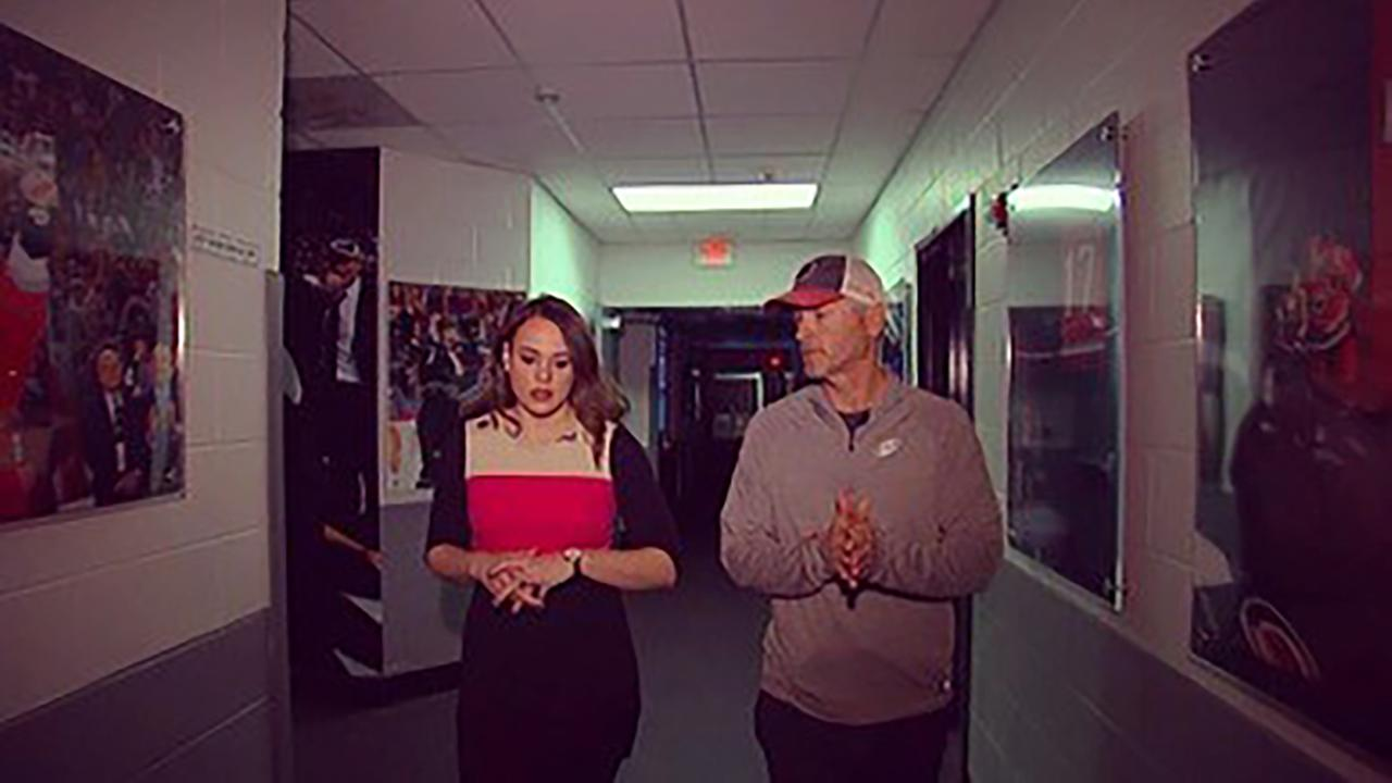 ABC11s Bridget Condon walks and talks with new Hurricanes owner Tom Dundon inside PNC arena.