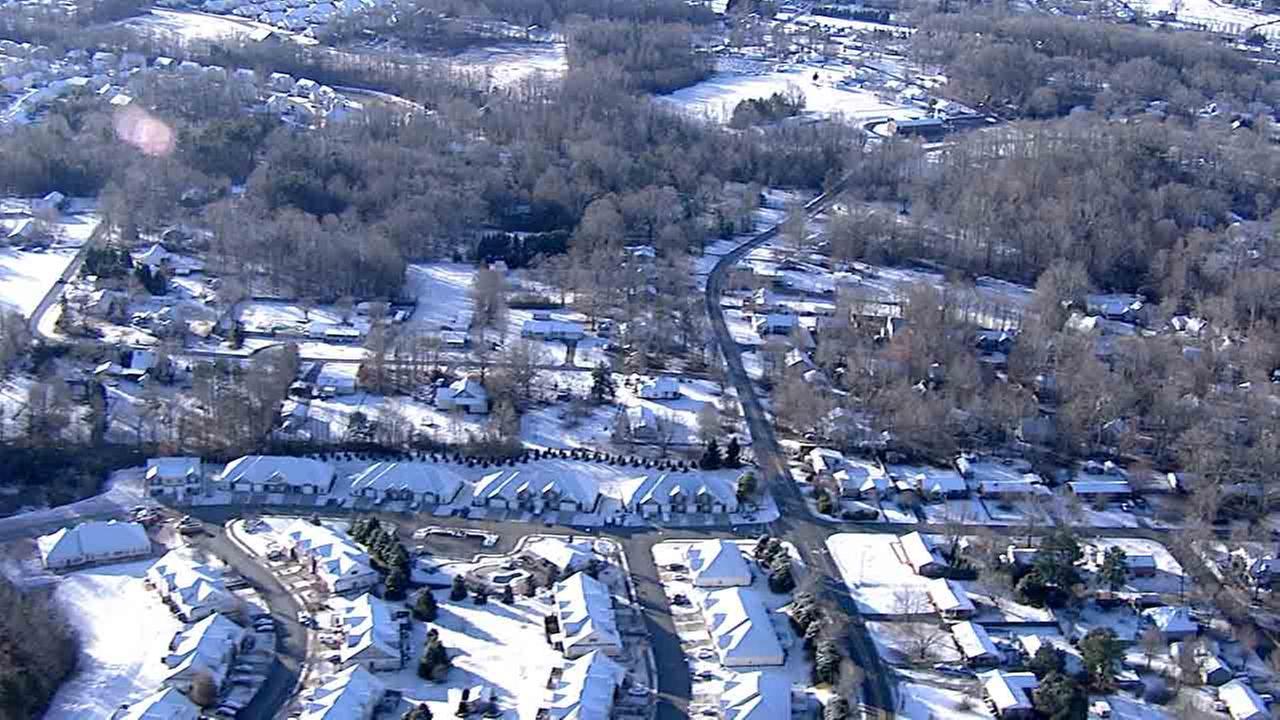 Chopper11 HD is over a snowy scene in Orange County