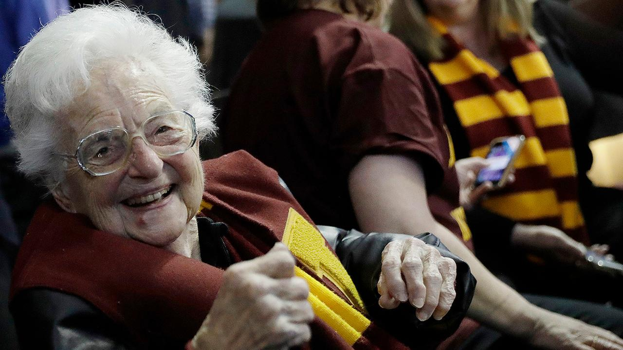 Sister Jean Dolores Schmidt sits with other Loyola-Chicago fans during the Ramblers win against Nevada on Thursday in Atlanta.
