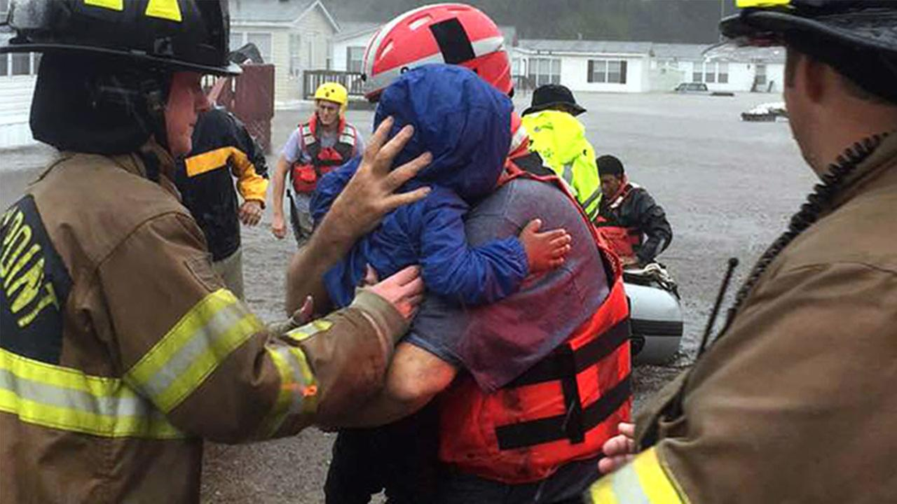 Stoney Fire Department rescue people from Hurricane Matthew