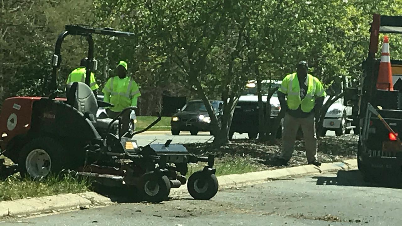 A Raleigh city worker who was mowing was struck by a vehicle Thursday.