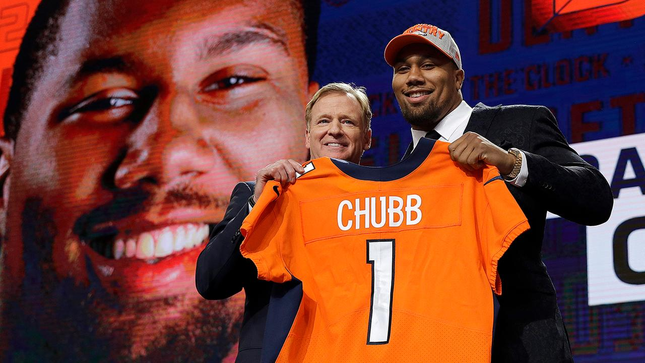 Commissioner Roger Goodell, left, poses with North Carolina States Bradley Chubb after Chubb was selected by the Denver Broncos.