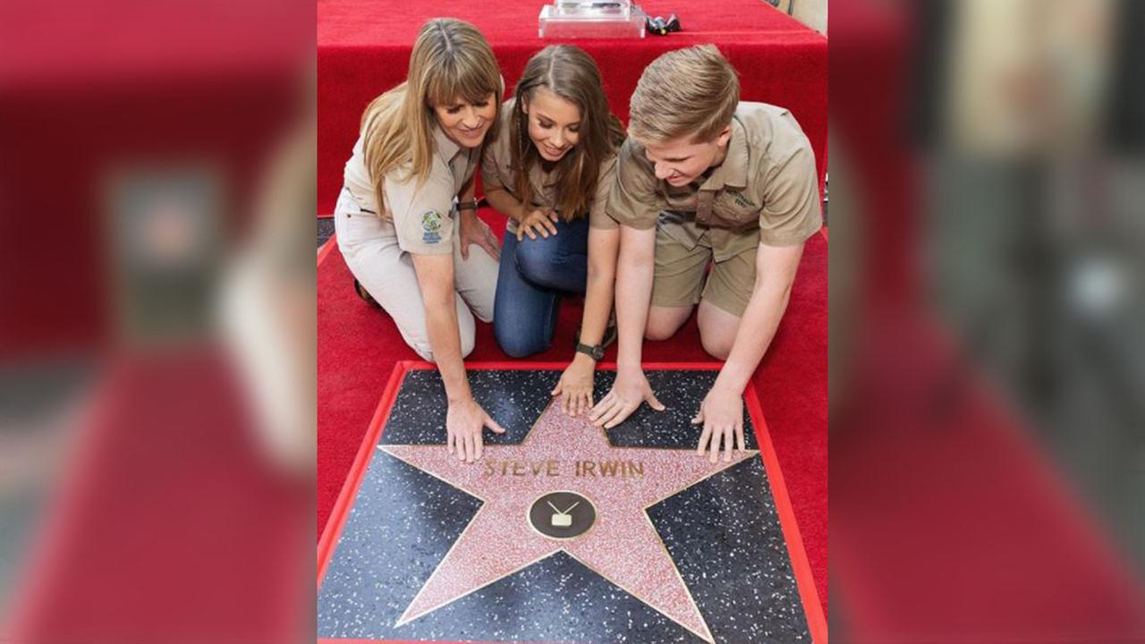 The Irwin family accept a star on Hollywoods Walk of Fame for the late Steve Irwin